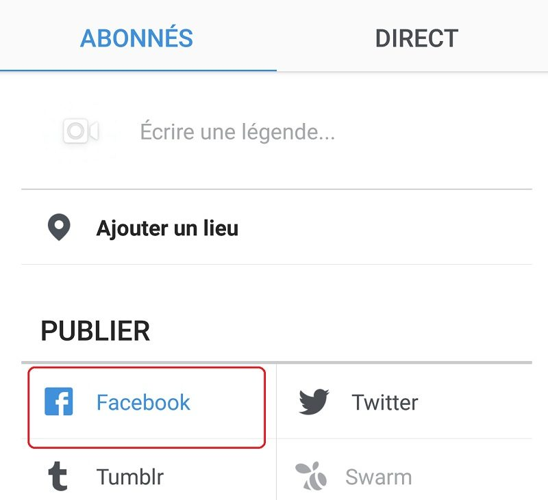 Partager photo Instagram sur Facebook