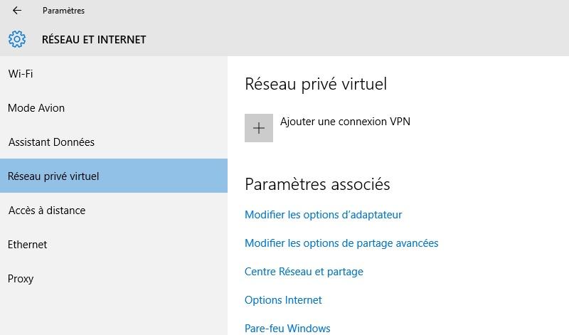 Réseau privé virtuel windows