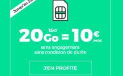SFR RED : forfait illimité + 20 Go à 10 € / mois sans engagement à vie