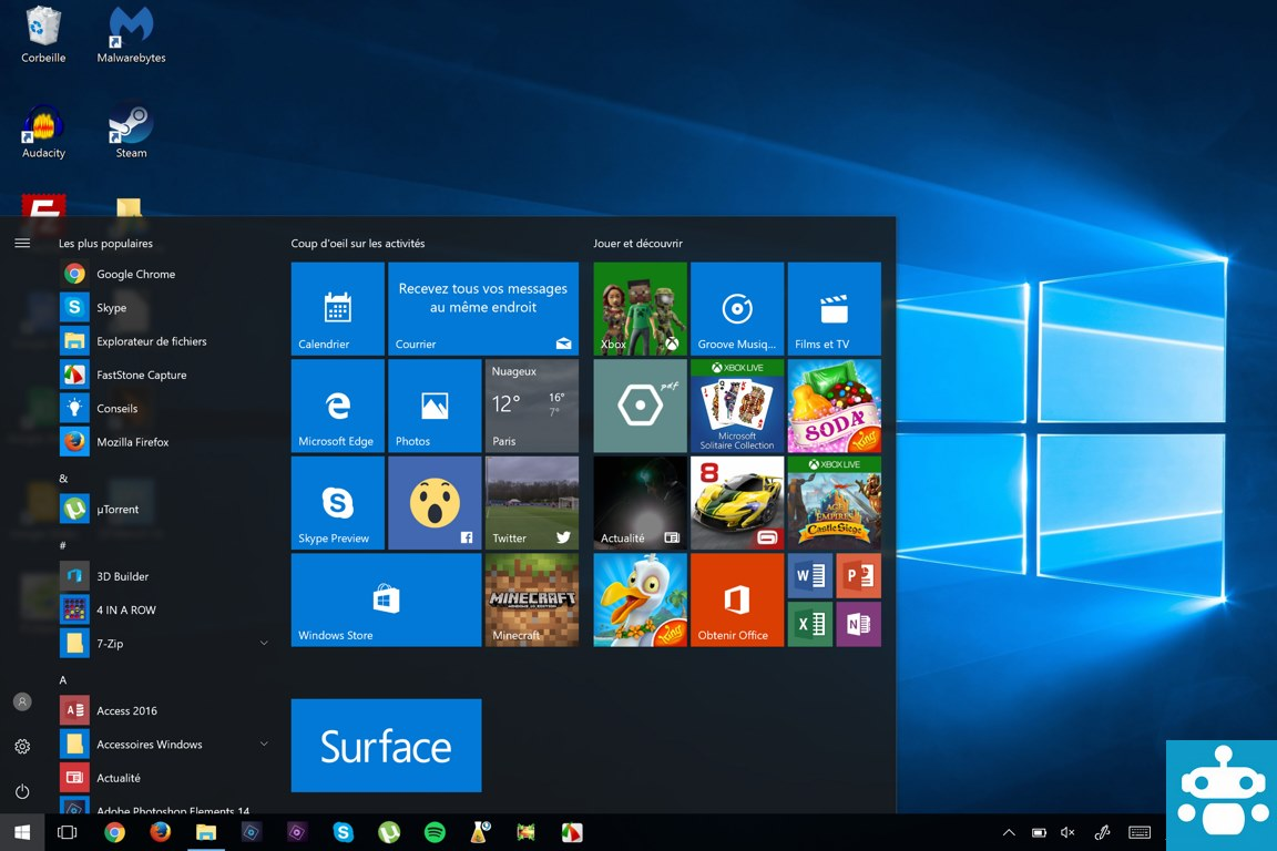 test surface pro 4 interface windows 10
