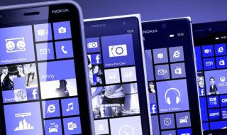 Une rangée de Windows Phone