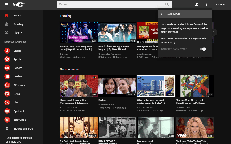 YouTube mode Fondé ou Dark mode