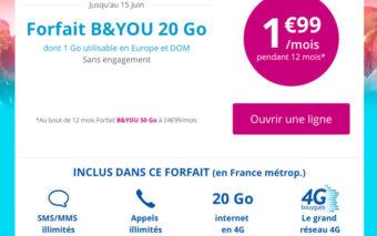 Bon plan Bouygues : Forfait B&You 20Go à 1,99€ / mois pendant 1 an sans engagement