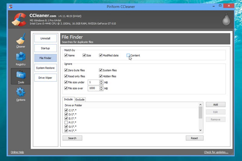 Ccleaner fichiers doubles