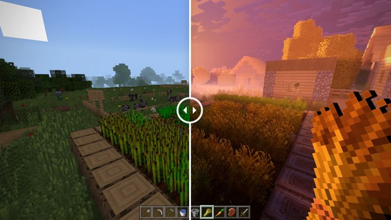 comparaison images minecraft 4k