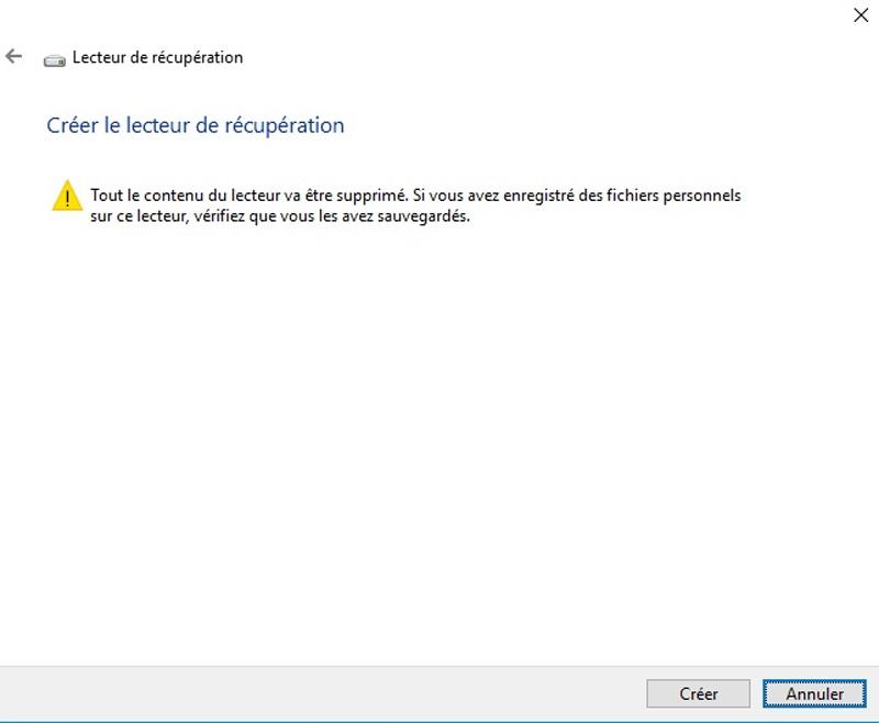creer lecteur récupération Windows 10
