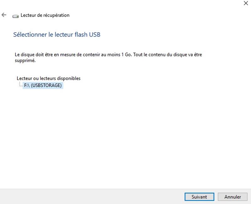 Selection clé USB