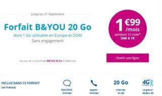 Bon plan B&You : Forfait 20 Go à 1,99€ / mois pendant 1 an