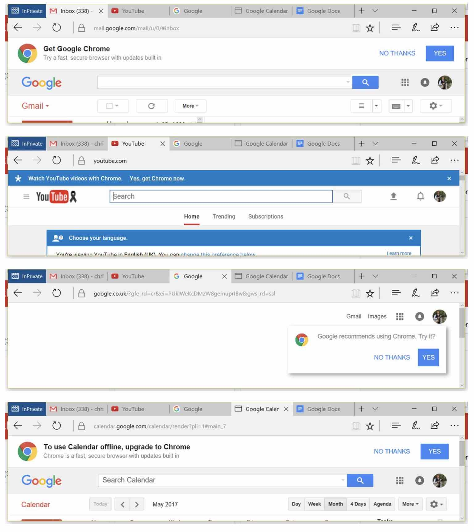 google chrome publicite