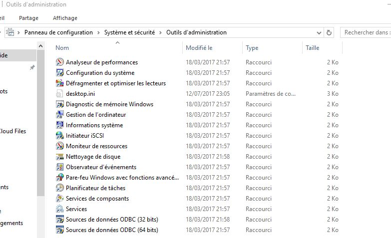 outils administration windows