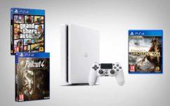Soldes Cdiscount été 2017 : PS4 Slim blanche 500 Go + GTA V + Ghost Recon Wildlands + Fallout 4, 299,99 euros seulement !