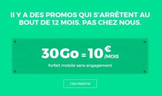 Bon plan SFR RED : Forfait 30 Go à 10 € par mois à vie