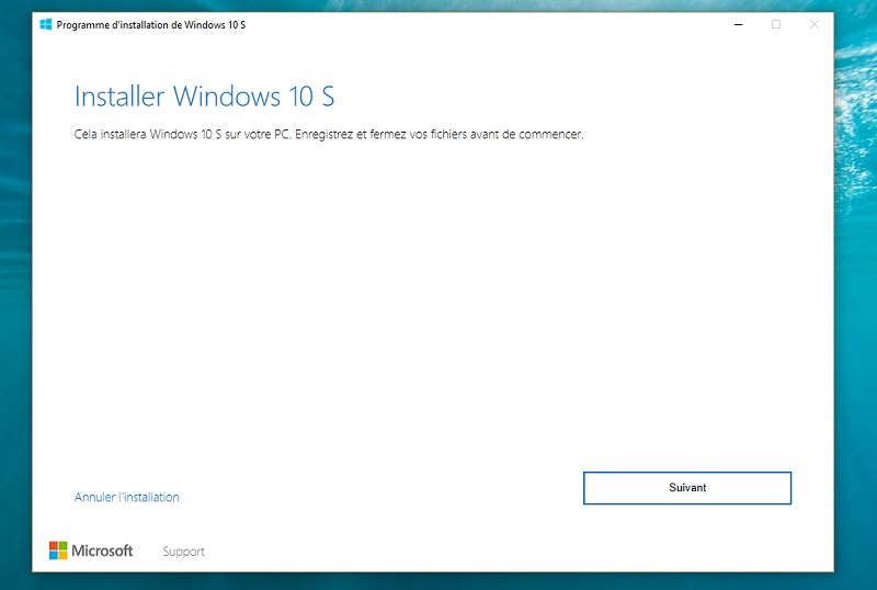 Installer windows 10 S