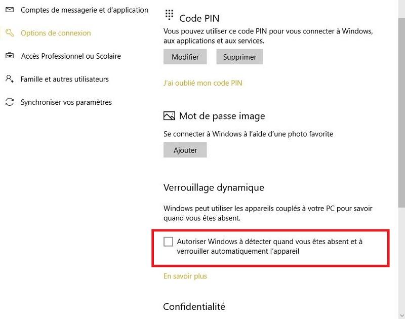 Activer verrouillage dynamique Windows 10