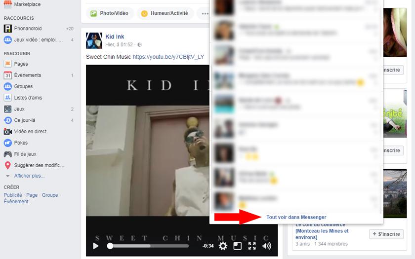 facebook messenger réseau social messages filtrés discussions