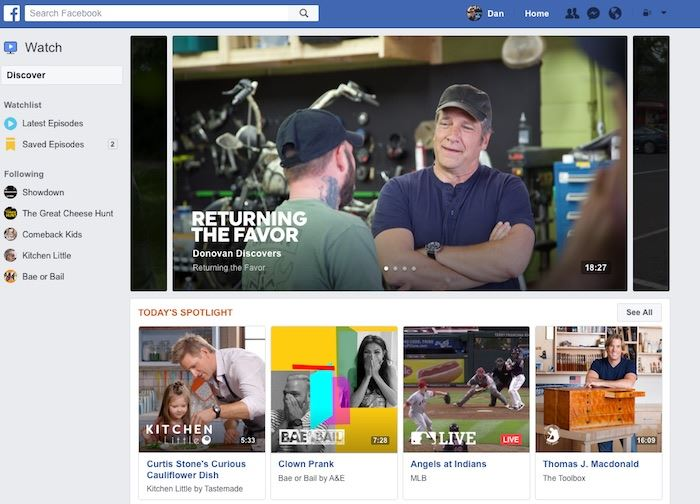 facebook devoile watch platefome video