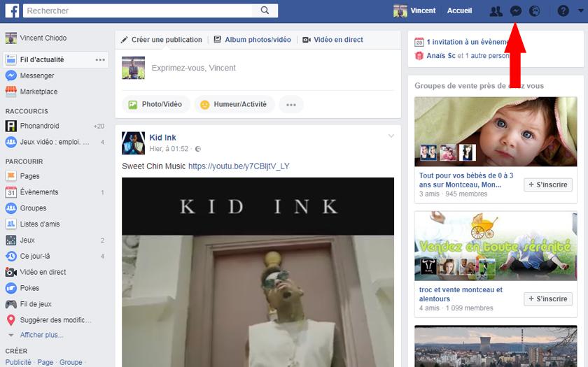facebook messenger réseau social messages filtrés