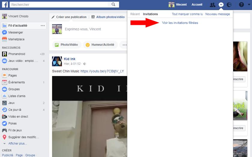 facebook messenger réseau social invitations filtrées