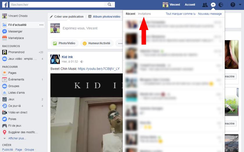 facebook messenger réseau social messages filtrés invitations