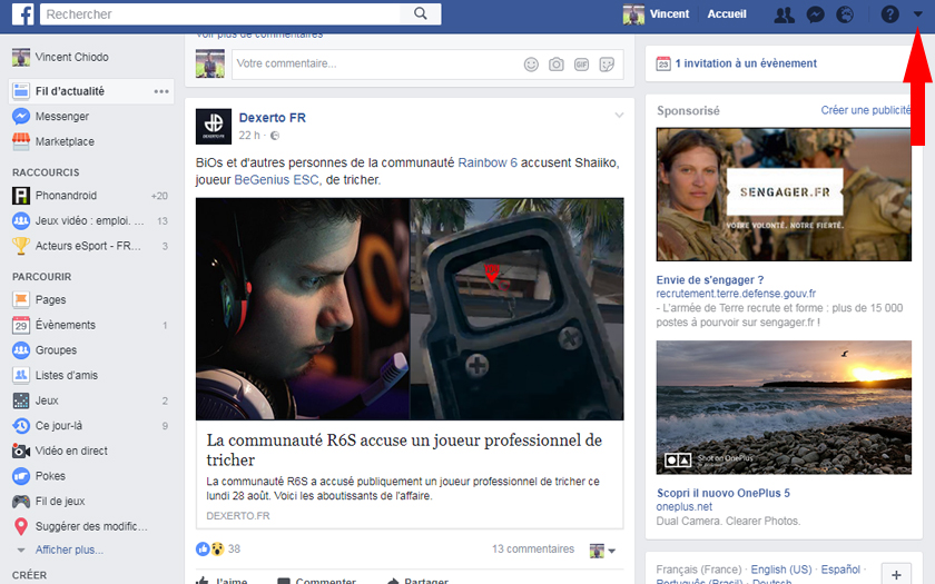 facebook page d'accueil suppression applications jeux
