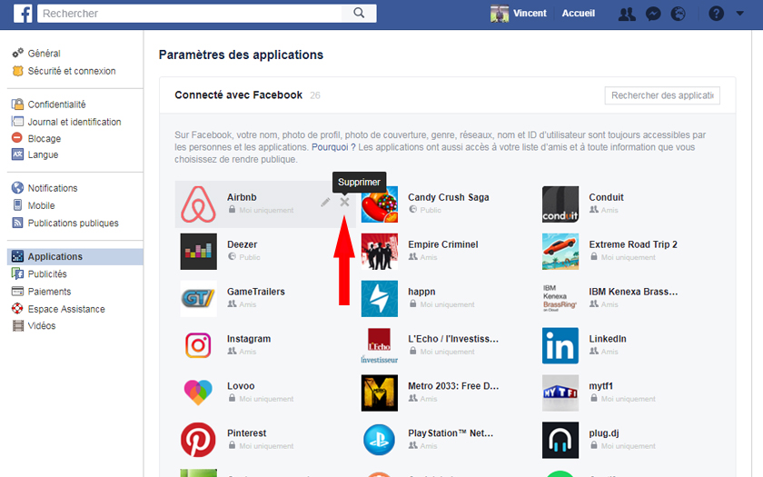 facebook suppression applications jeux