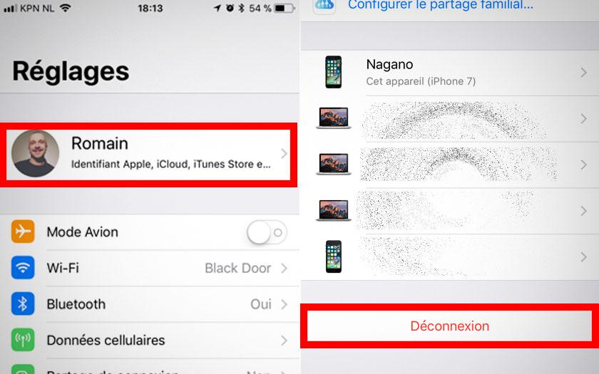 iphone reglages icloud deconnexion