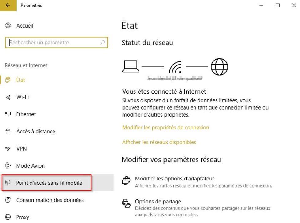 point acces sans fil windows 10