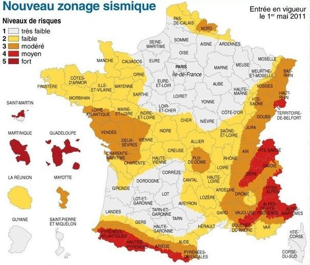 zones risque sismique france