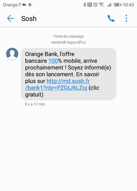 orange bank sms