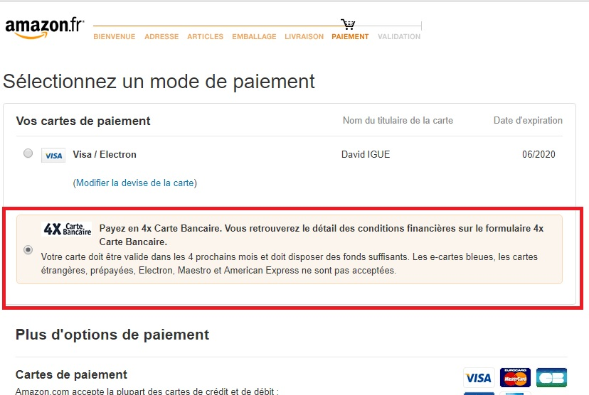 e carte bleur amazon
