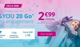 Forfait B&You 20Go à 2,99€ / mois pendant 1 an sans engagement (prolongation)