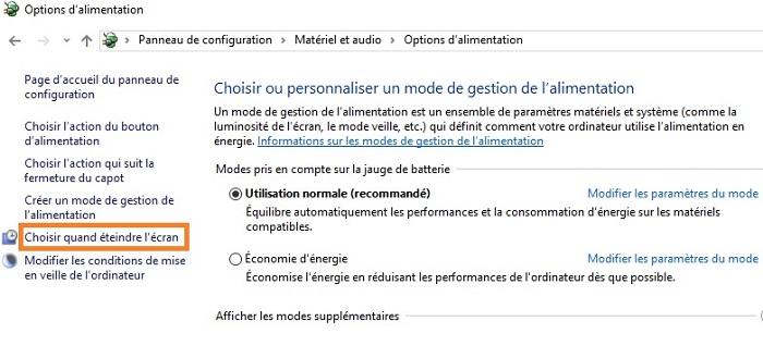 Comment Calibrer et economiser sa batterie sous windows / Cas de windows 10 Choisir-quand-%C3%A9teindre-%C3%A9cran