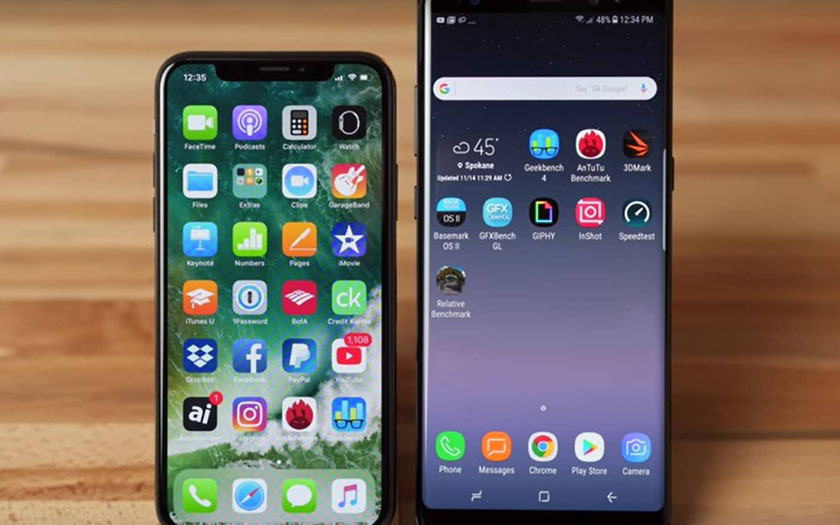 iphone x note 8 benchmark