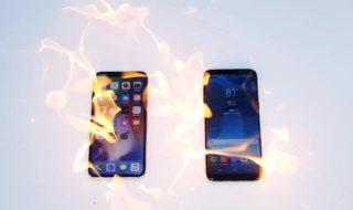 iPhone X vs Galaxy S8 : comment résistent-ils au feu, au congélateur et au sabre de samouraï ?
