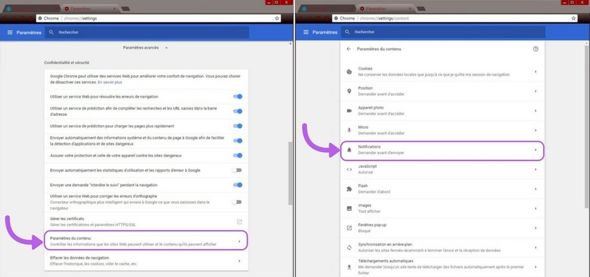 Google Chrome - Paramètres