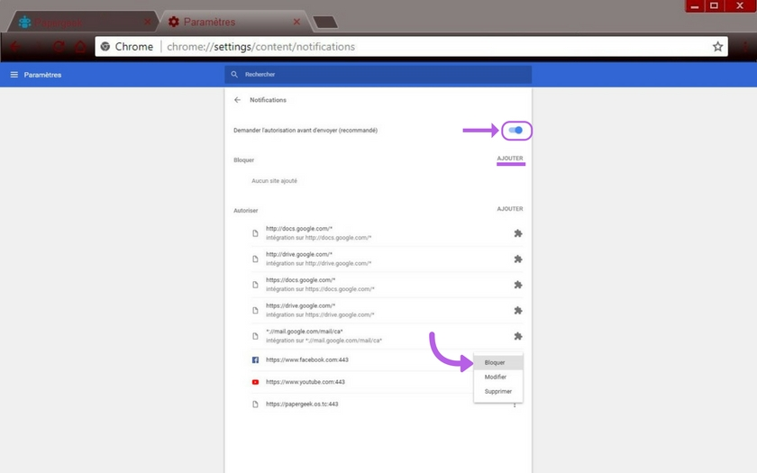 Google chrome comment bloquer les notifications for Bloquer les fenetre de pub google chrome