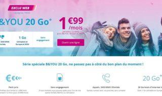 Forfait B&You 20Go à 1,99€ / mois pendant 1 an sans engagement