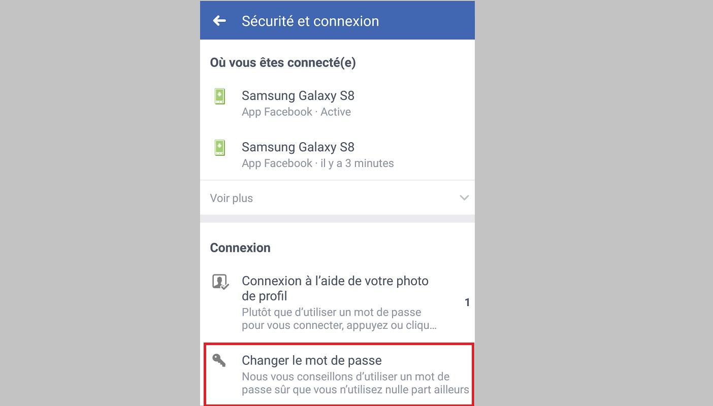 changer mot de passe facebook sur smartphone Android ou iPhone