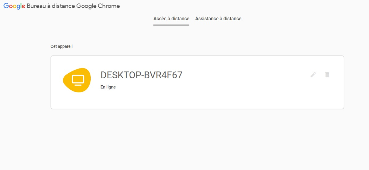 Contrôler son PC à distance avec Chrome : connecté