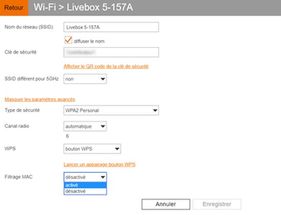 MAC Livebox filtering