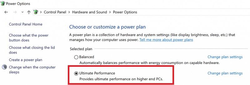 Performances ultimes Windows 10