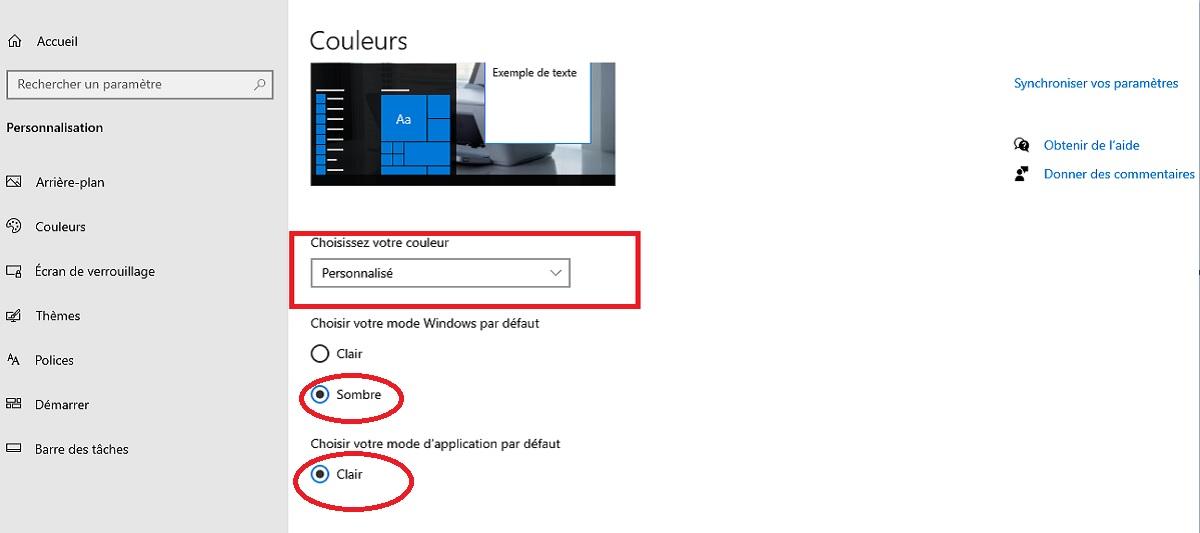 Activer le mode sombre de Windows 10
