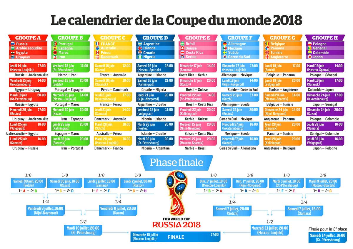 Calendrier programme coupe du monde