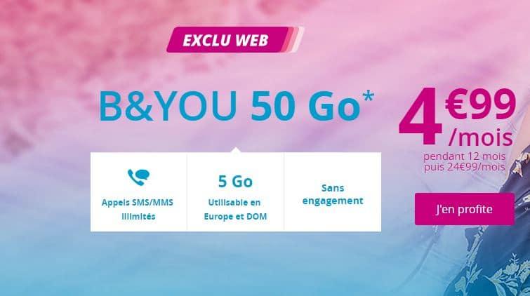 Bon plan forfait B&You 50 Go