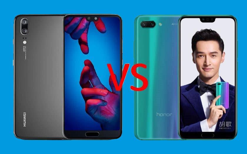 Comparatif Huawei P20 Honor 10