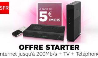 Vente privée SFR : l'offre Box Starter avec Internet + TV + Téléphone dès 5 € par mois pendant 1 an