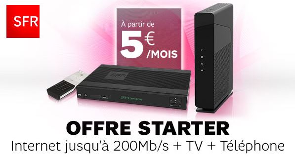 Promo SFR Box Starter avec Internet + TV à 5 € par mois pendant 1 an sur Showroomprivé