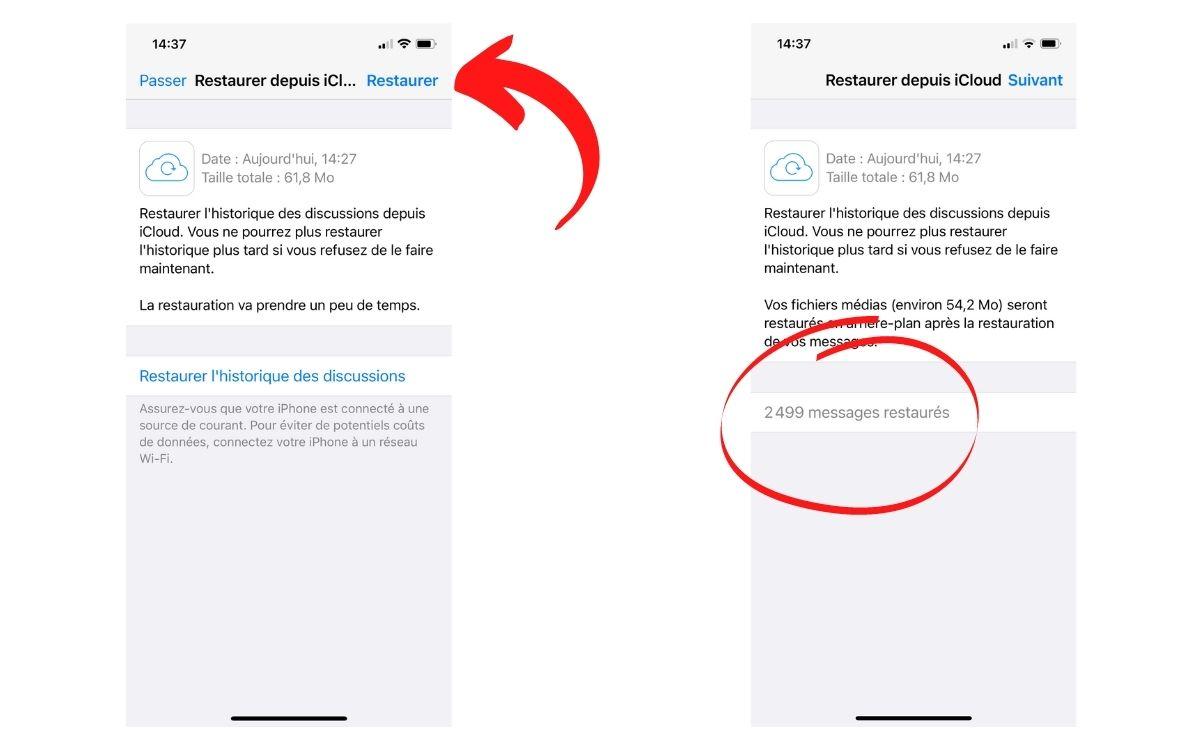 Restaurer discussion WhatsApp avec iCloud