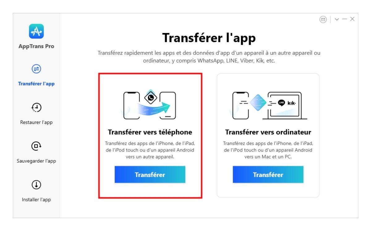 Transfert WhatsApp iPhone Android