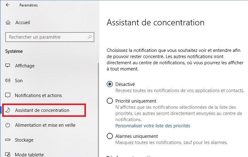 Activer Assistant concentration Windows 10